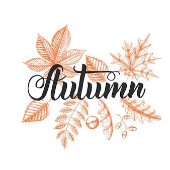 Frase de caligrafia de letras - outono.