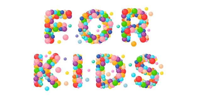 Frase de desenho vetorial para crianças de bolas coloridas.