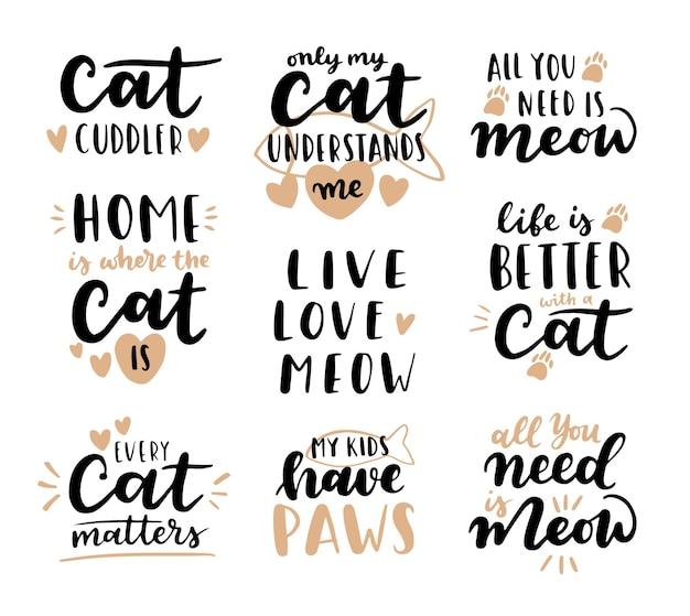 Frase de gato preto e branco. citações inspiradoras sobre gatos e animais domésticos. frases escritas à mão.