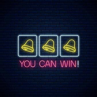 Frase de motivação de néon brilhante com três sinos na máquina caça-níqueis. combinação de vitória de caça-níqueis com sino e texto em estilo neon.
