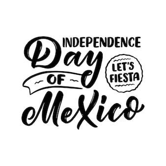 Frase de rotulação de mão desenhada - dia do méxico. celebração do feriado