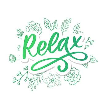 Frase de rotulação de tipografia desenhada mão relaxe no fundo branco. caligrafia divertida para cartão de saudação e convite ou impressão de t-shirt.