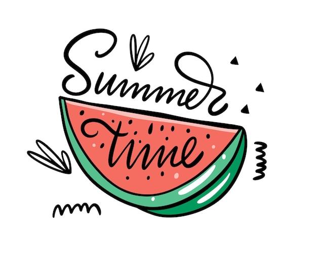 Frase de tipografia moderna de horário de verão e ilustração vetorial colorida de melancia. isolado
