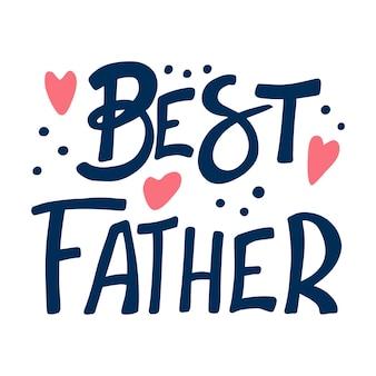 Frase de vetor desenhada mão melhor pai. frase com composição de símbolos de doodle de cor. dia dos pais, aniversário relativo, felicitando o cartão postal com design plano. inscrição em um fundo branco.