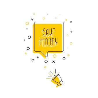 Frase 'economizar dinheiro' no balão e alto-falante em fundo amarelo