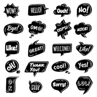 Frase falada. as bolhas do discurso circundam as formas com a coleção de áreas de texto de vetor de frase simples de diálogo. ilustração de mensagem de bolha, balão de texto