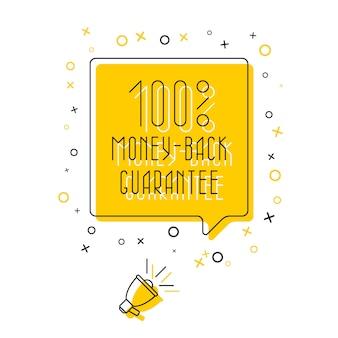 Frase 'garantia de devolução do dinheiro de 100%' no balão e alto-falante em fundo amarelo