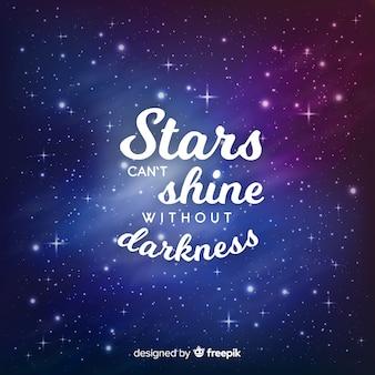 Frase inspiradora com fundo estrela