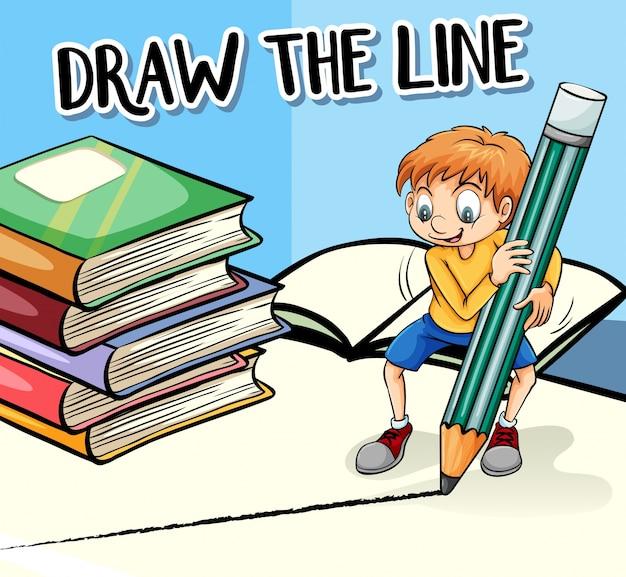 Frase no cartaz para desenhar a linha