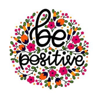 Frase positiva com flores