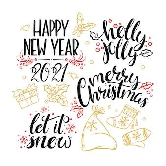 Frases de caligrafia de natal e ano novo em um fundo branco.