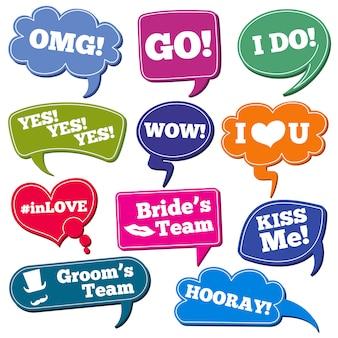 Frases de casamentos em balões de fala vector conjunto de adereços de foto