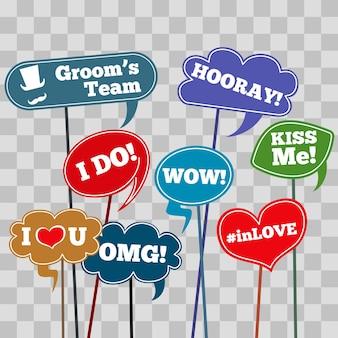 Frases de casamentos engraçados em banner isolado