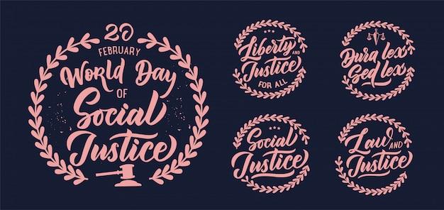 Frases de justiça social, logotipos, selos, emblema, etiquetas, composições, conjunto de adesivos