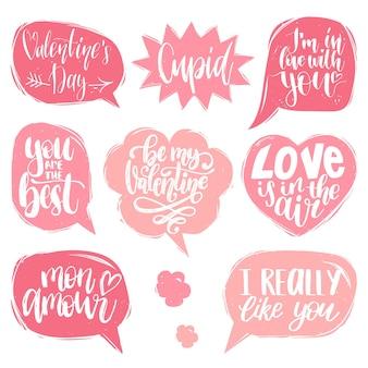 Frases de letras à mão o amor está no ar