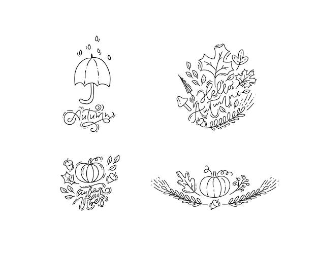 Frases de outono de caligrafia monoline