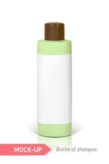 Frasquinho verde de shampoo com rótulo