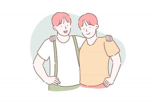 Fraternidade, amizade, conceito de parceria
