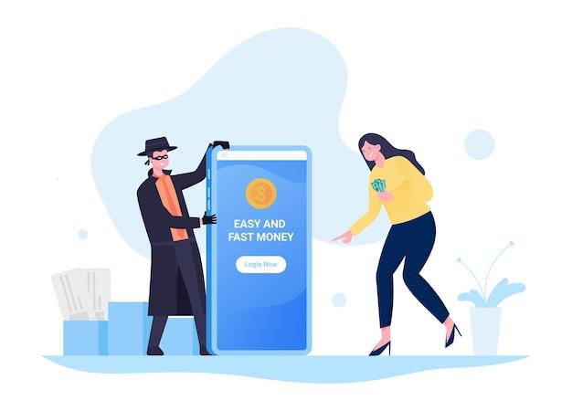 Fraude de pagamento via aplicativo móvel, dinheiro falso, roubo financeiro