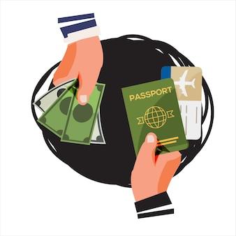 Fraude de passaporte e visto. troca de dinheiro com passaporte falso