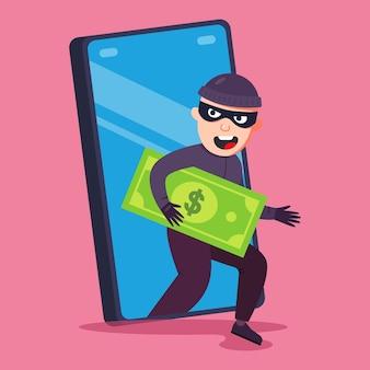 Fraude telefônica. um criminoso rouba dinheiro do seu smartphone. ilustração vetorial plana.