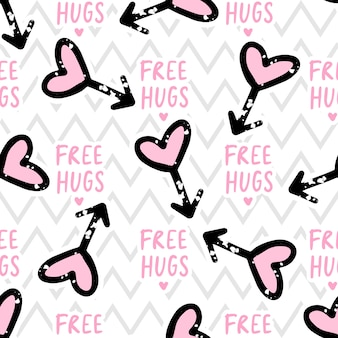 Free hugs seamless pattern amor, corações