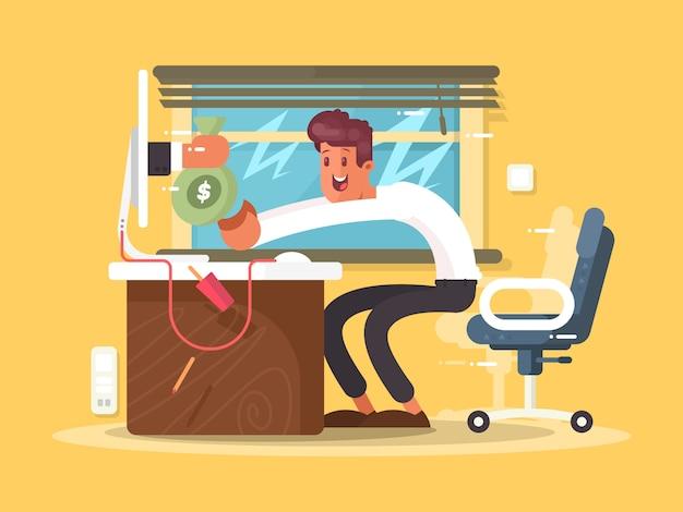 Freelance de renda online. monitor de forma de bolsa de dinheiro. ilustração