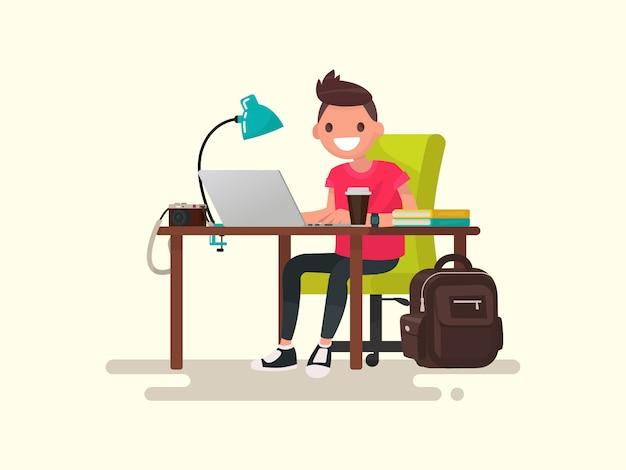 Freelance. fotógrafo ou designer atrás de uma ilustração na área de trabalho