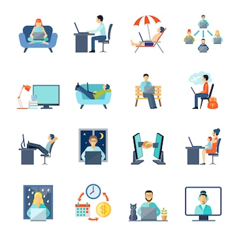 Freelance icons set with working em casa descanso e laptop