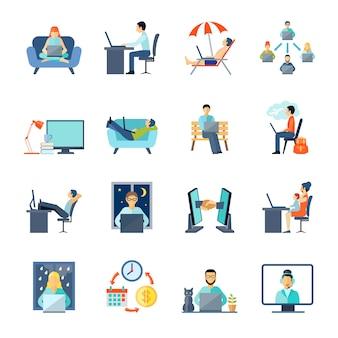Freelance icons set with working em casa descanso e laptop
