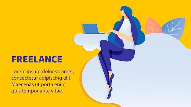 Freelance, modelo de vetor de banner plana de trabalho remoto