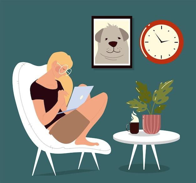 Freelance mulher sentada na cadeira e trabalhando em um laptop, ilustração de trabalho em casa
