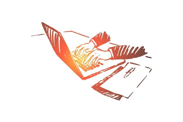 Freelance, trabalho de casa, empresário trabalhando com ilustração de laptop