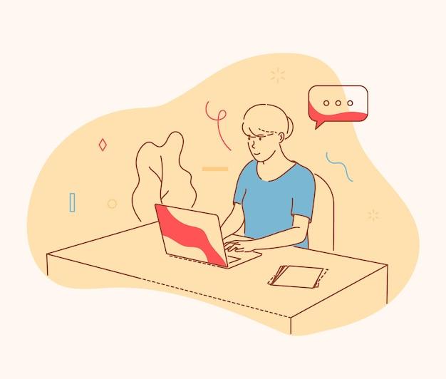 Freelance, trabalho online, emprego. mulher durante o planejamento do trabalho. jovem mulher positiva sentada na mesa em pensamentos profundos, trabalhando no laptop em ilustração vetorial de escritório.