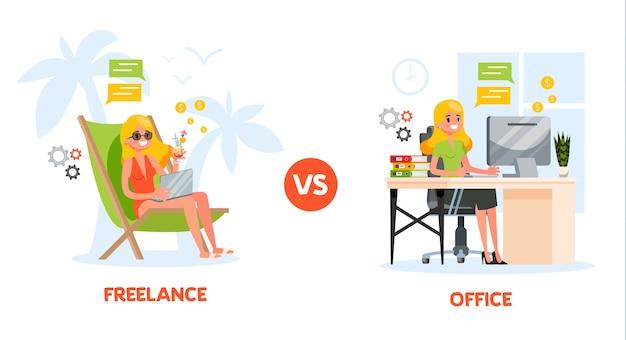 Freelance vs. conceito de trabalho de escritório. mulher sentada