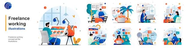 Freelance working isolated set funcionários remotos com laptops em escritórios domésticos de cenas em apartamento