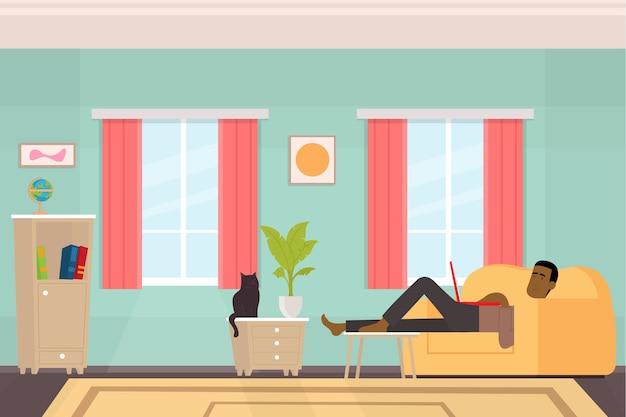 Freelancer afro-americano trabalha em sua casa. trabalho colocado em quarentena em casa. ilustração.