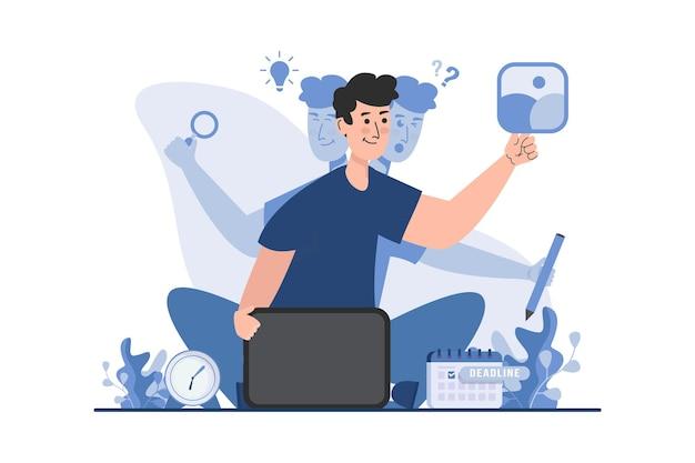 Freelancer de design com conceito de ilustração multitarefa