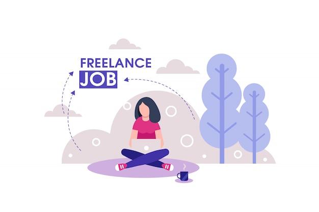 Freelancer de garota no trabalho ao ar livre com ilustração de laptop