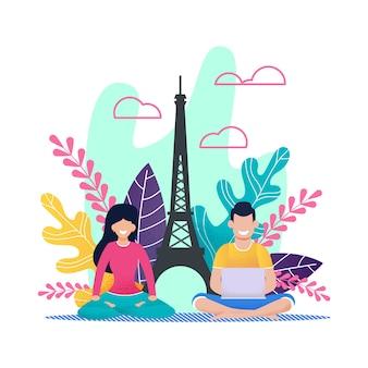 Freelancer de homem dos desenhos animados e desportiva mulher em férias no exterior na europa