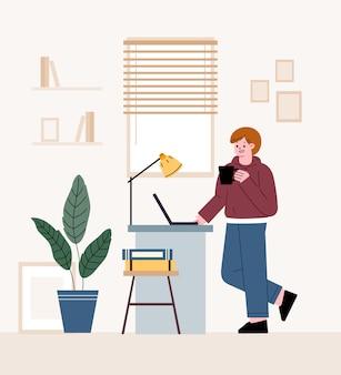 Freelancer de homem. em frente a uma mesa e trabalhando em um laptop. teletrabalho em casa.