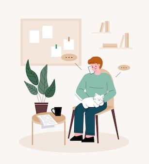 Freelancer de homem. homem segurando um gato, falando ao telefone. teletrabalho em casa.