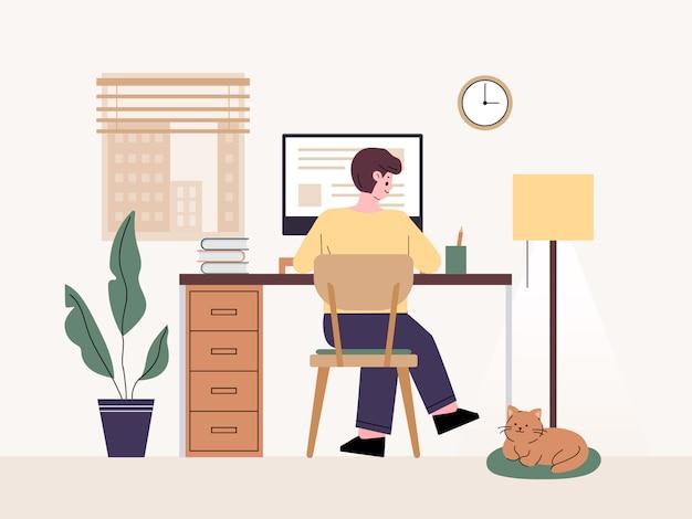 Freelancer de homem. trabalhando em casa em um computador telecommuting em casa.