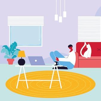 Freelancer de homem trabalhando remotamente em sua casa