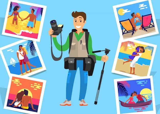 Freelancer de jornalista com tripé e imagens