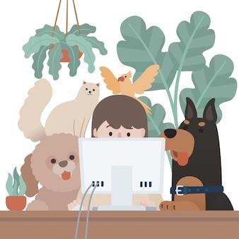 Freelancer de mulher de personagem plana trabalhando com computador confortável casa natural perturbado por animais de estimação cão gato arara