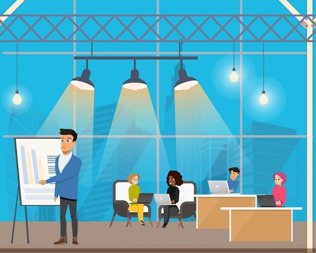 Freelancer fazendo apresentação no local de trabalho compartilhado