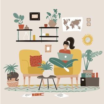 Freelancer feminina está sentada em uma poltrona