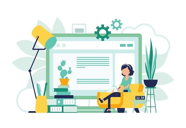 Freelancer girl escritório em casa design abstrato