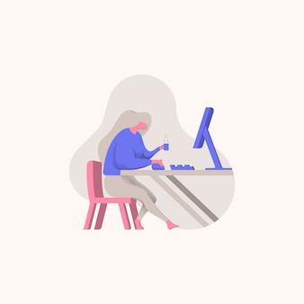 Freelancer, menina, trabalho, frente, pc, ilustração